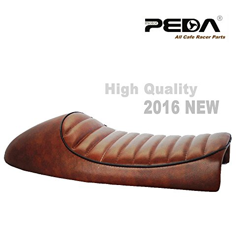 PEDA New Brown Cafe Racer Retro Locomotive Refit Motorcycle Seat Leather Waterproof Hump Seats with black Piping 1