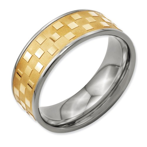 Titanium 8mm Gold-plated Satin and Polished Checkered Band Size 11.5