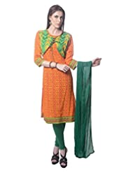 Saving Tree Orange Cotton A Line Suit With Matching Contrast Legging And Dupatta