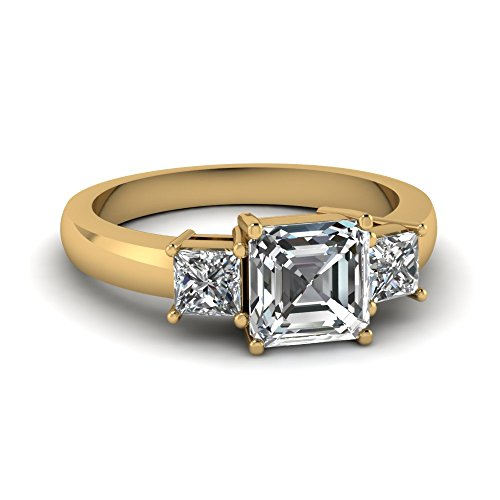 Fascinating Diamonds 1.20 Ct Asscher Cut Diamond Classy Three Stone Engagement Ring Flawless 14K Gia