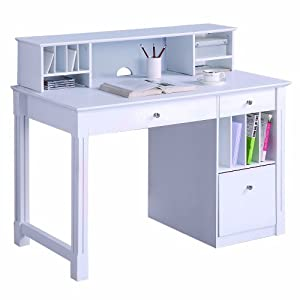 We furniture deluxe solid wood desk w hutch white kitchen home Home furniture on amazon