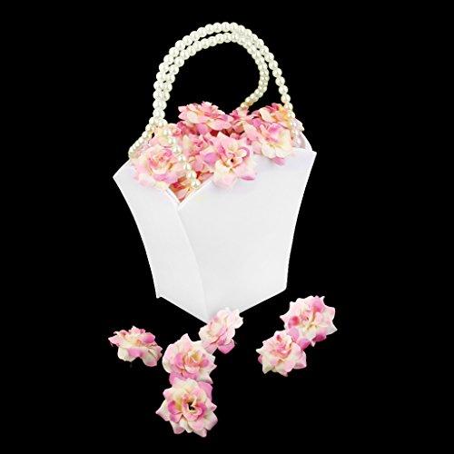 1pc Panier de Fleurs en Satin Panier de Bouquetière pour Mariage Blanc d'Ivoire