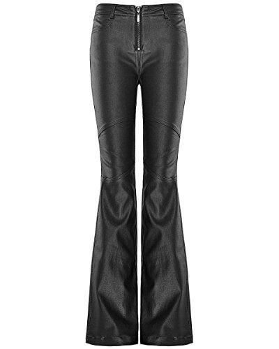Punk Rave Donna Flare Pantaloni Jeans nero gotico Dieselpunk Bell Bottom Pantaloni Black S - Formato delle Donne 40
