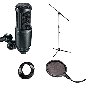Mic Stand With Pop Filter : audio technica at2020 with mic stand pop filter and cable vocal recording bundle ~ Hamham.info Haus und Dekorationen
