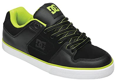 DC Pure Slim Shoe - Black / Soft Lime - UK 7