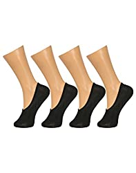 Gumber Pack of 4 Pairs of Black Solid No Show Socks(GE_LOAFER_BLK_4PC)
