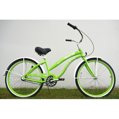 Women's 3-Speed Aluminum Beach Cruiser Frame Color: Lime Green