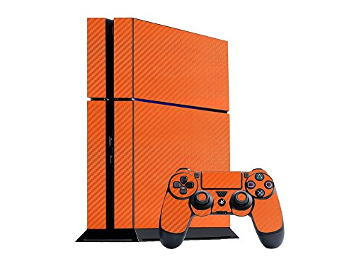 Sony PlayStation 4 Skin (PS4) - NEW - 3D CARBON FIBER ORANGE - Air Release vinyl decal faceplate mod kit by System Skins (Custom Skins For Ps4 compare prices)