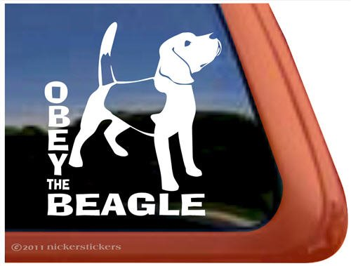 OBEY THE BEAGLE Dog Vinyl Window Auto Decal Sticker