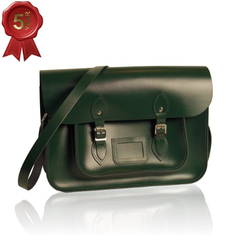 Extra Large Vintage Style Satchel hand-crafted from British Racing Green Leather (15-inches Wide)