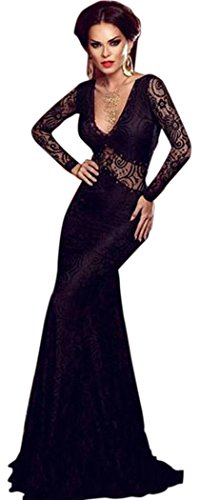 [TomYork Black Lace Mermaid Long Evening Dress] (Witch Coustumes)
