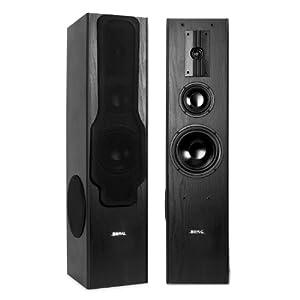 Beng E1005 Floor Standing Speakers (360W RMS, 3-Way & Bass Reflex Design) - Black Ash