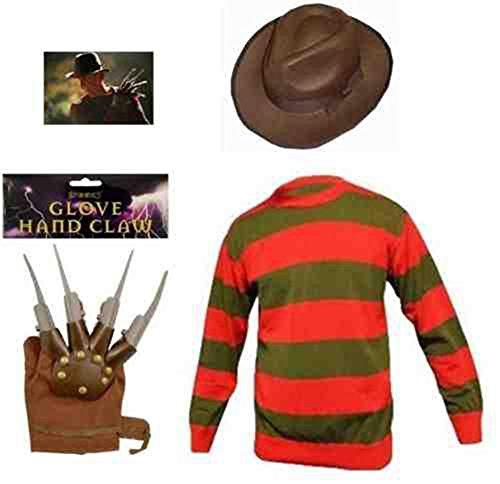 [Halloween Costume Men's Freddy Krueger Costume Standard Jumper Hat And Claw Glove (Medium, Full Set (Hat, Glove &] (Freddy Krueger Costume)