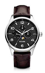Golana Classic Moon Phase Men's Quartz Watch with Grey Dial Analogue Display and Brown Leather Strap CL200-2