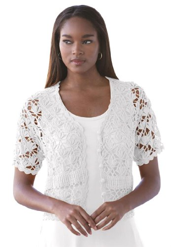Jessica London Women's Plus Size Shrug Cardigan In Crochet White,22/24