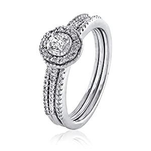 0.34 CT. Natural White Diamond Bridal Collection 18K White Gold Wedding Ring Set With Band (G-H, I2-I3)
