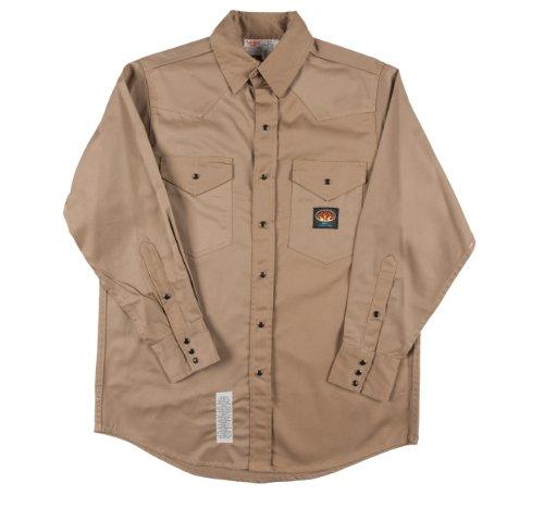 Rasco Fire Retardant KHAKI Shirt FR Western with Snaps 7.5 oz