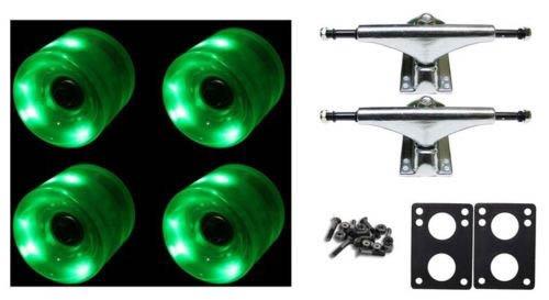 65Mm Green Led Wheels Night Light Skateboard Combo Trucks/Wheels/Bearings/