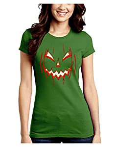 Scary Glow Evil Jack O Lantern Pumpkin Juniors Crew Dark T-Shirt - Kiwi Green - Large