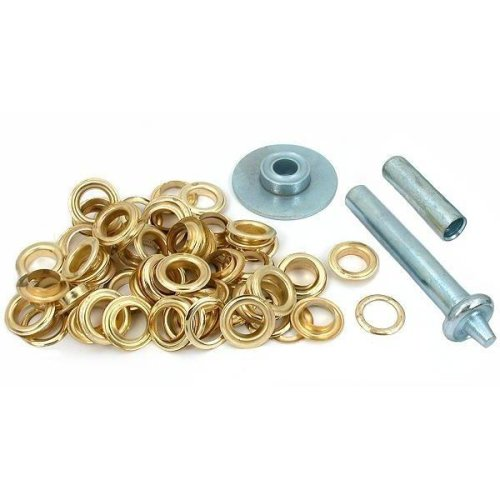 50 Punch Grommets Leatherworking Tent Fabric Gold Tone