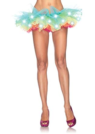 Leg Avenue Led Light Up Rainbow Neon Tutu, Multi-Color, One Size