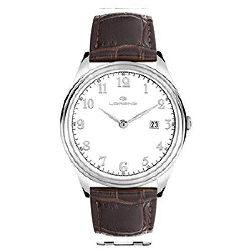 Lorenz 027180AA Reloj de Cuarzo Para Hombre Acero Quandrante Blanco Correa de Piel