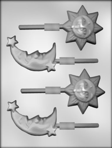 CK Products 2-3/4-Inch Sun and 3-1/4-Inch Moon and Stars Sucker Chocolate Mold