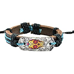 90210 CALIFORNIA Danger Alert, Womaniya Ahead Skyblue on Black Faux Leather Bracelet