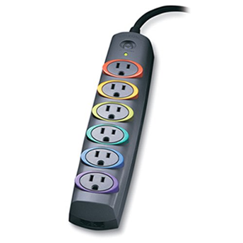 Kensington K62146Na Smartsockets Basic 6-Outlet Color-Coded Power Strip And Surge Protector