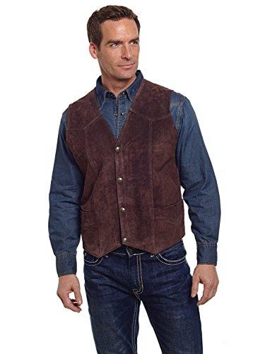 Cripple Creek Mens Cognac Boar Suede Leather Western Snap Front Vest L