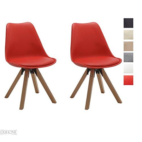 Stuhl-Esszimmersthle-Kchensthle-2-er-Set-in-ROT-Kchenstuhl-mit-Holzbeine-Sitzkissen-TYP9-518M-Esszimmerstuhl-RETRO-Kchenstuhl-Farbauswahl