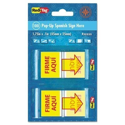 redi-tag-4-pack-spanish-page-flags-in-pop-up-dispenser-firme-aqui-red-yellow-100-pk-product-category