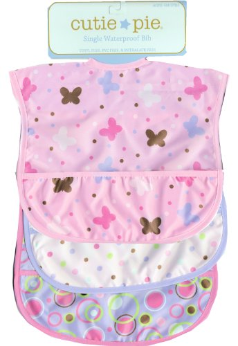 Cutie Pie Waterproof Baby Bibs 3/pack PVC Free - 1