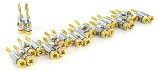 24k Gold Connector Banana Plugs, Open Screw Type 24 Pack (12 Red, 12 Black)