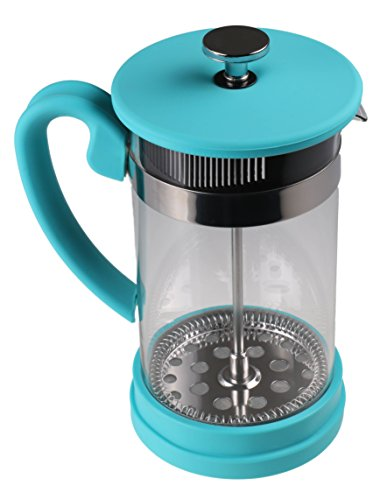 Gourmet 1 Liter Turquoise Glass and Silicone French Press Coffee Brewer