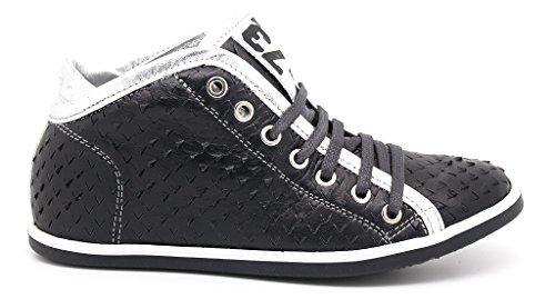 Felmini sneakers stringate donna, tomaia pelle nera, suola gomma (EU 41)