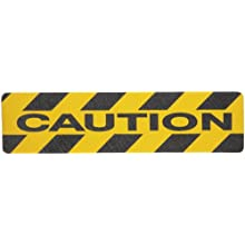 "Brady 6"" Height, 24"" Width, B-916 Grit-Coated Polyester Tape, Black On Yellow Color Anti-Skid Tape Hazard Marking Diecut Cleats, Legend ""Caution"" (Pack Of 24)"
