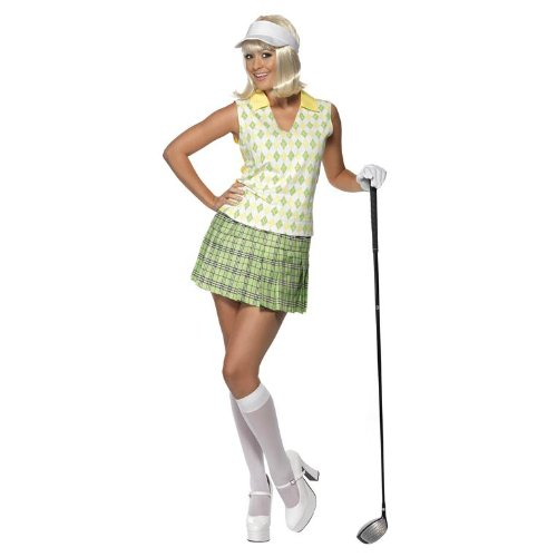 Smiffy's Women's Gone Golfing Costume with Visor Tank Top Pleated Skirt and 1 Glove