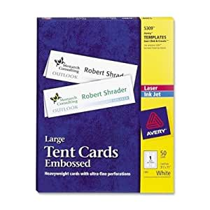 Ave5309 avery large embossed tent card amazoncom for Tent cards staples