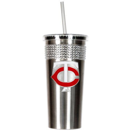 MLB Minnesota Twins Stainless Steel Bling Insulated Tumbler with Straw, 16-Ounce