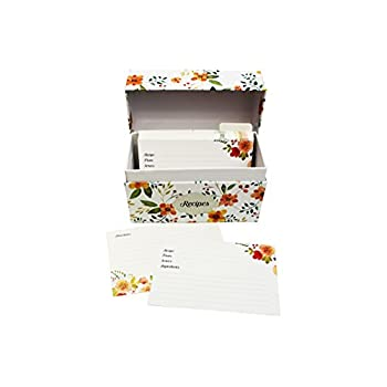 Vintage-Look Recipe Box Set With 50 Recipe Cards & 10 Blank Dividers | Holds Up To 200, 4x6 Cards | From Splendid Chef