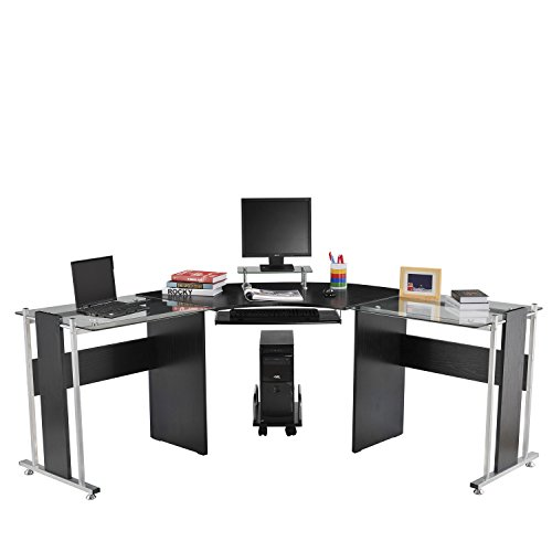 "HomCom 69"" Modern L-Shaped Symmetrical Glasstop Office Workstation Computer Desk - Black"