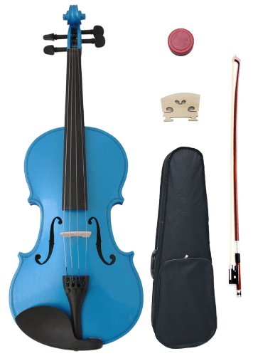 New 4/4 Blue Acoustic Violin With Case, Bow and Rosin , Full-Size