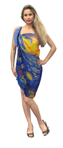 La Leela Sea Printed Beachwear Sarong R Blue