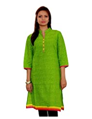 Adesa Women's Cotton Self Print Regular Fit Kurti - B00VHSD7S6