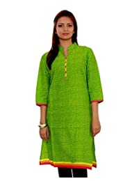 Adesa Women's Cotton Self Print Regular Fit Kurti - B00VHSDDV2