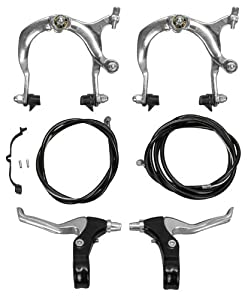 Pyramid - Mx Alloy Bicycle Brake Set Front & Rear Set W  Levers, Silver by Pyramid