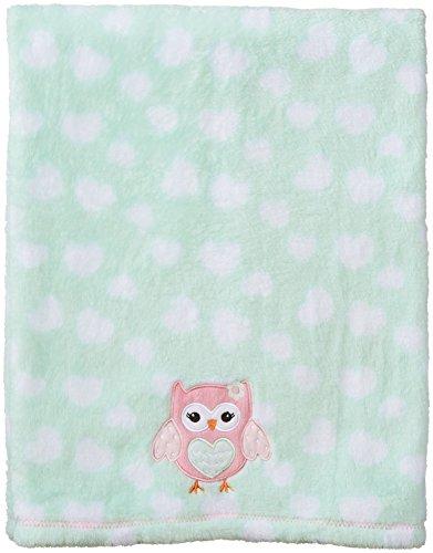 BabyGear Baby-Girls Newborn Long Hair Velboa Printed Blanket On Hanger with Applique-Owl - 1