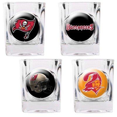 NFL Tampa Bay Buccaneers Four Piece Square Shot Glass Set (Individual Logos)