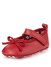 Leather Bow Ballet Pram Shoes